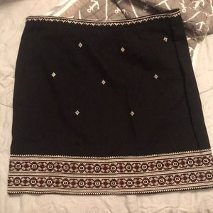 black, patterned Madewell skirt